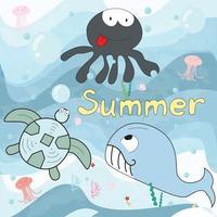 Cute blue ocean and sea animals cartoon vector