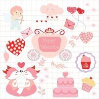 Cute sticker animal and cupid cartoon vector