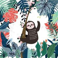 Cute sloth in spring forest pattern vector