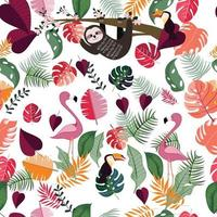 Animal in pink tropical jungle seamless pattern vector