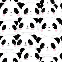 lindo, panda, caricatura, seamless, patrón vector