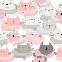 Cute pastel cat cartoon vector