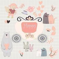 Cute animal stickers vector
