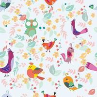 Birds in the flower garden seamless pattern vector