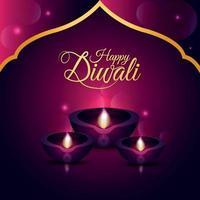 Happy diwali festival of light celebration greeting card with creative diwali diya vector