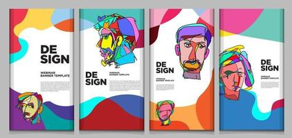 Vector webinar banner template with colorful abstract shape
