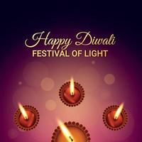 Happy diwali festival of light , the festival of india celebration greeting card vector