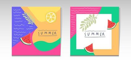Summer sale tropical social media post template vector