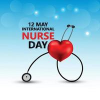 International nurse day background with heart and medical equipment vector
