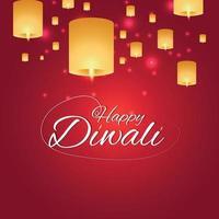 tarjeta de invitación de celebración del feliz festival de diwali de la india con lámpara de diwali y diya de aceite vector