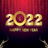 Feliz año nuevo 2022 tarjeta de felicitación de celebración con efecto de texto dorado vector