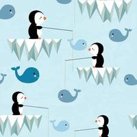 lindo patrón de pingüino y ballena vector