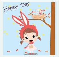 Cute rabbit baby girl in spring theme card vector