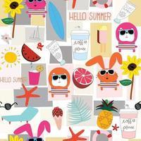Cute summer object on sunny day cartoon pattern vector