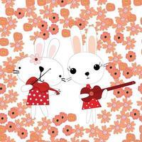 Cute rabbits cartoon play music in spring flower garden vector