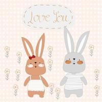 Cute rabbits cartoon on polka dot background vector