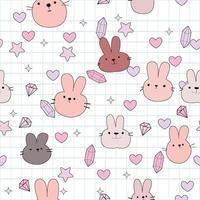 Cute rabbits face cartoon pattern vector