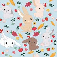 Cute dibujos animados conejos de patrones sin fisuras vector