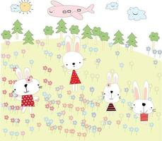 Cute rabbits cartoon in spring garden vector