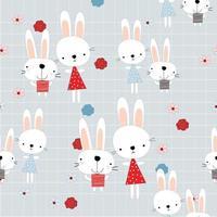 Cute rabbits friends in summer garden vector