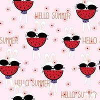 Cute summer rabbit girl cartoon pattern vector