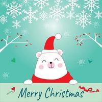 Cute Teddy Bear Merry Christmas celebration card vector