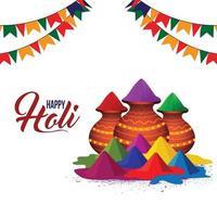 tarjeta de felicitación feliz holi con olla de barro colorido y tambor vector