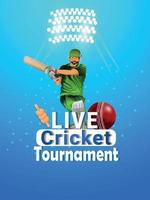 Cricket championship match with vector illustration of cricketer and stadium background