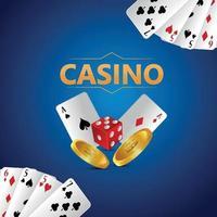 Casino juego de apuestas vip de lujo con naipes y fichas. vector