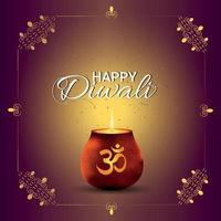 tarjeta de felicitación del festival indio de diwali con diwali diya creativo vector