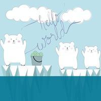Cute polar bear hello world cartoon vector