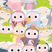 Cute owl birthday cartoon seamless pattern vector