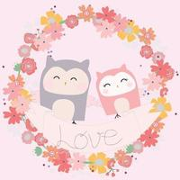 Cute owl couple in floral frame vector