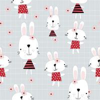 Cute rabbits girl cartoon pattern vector