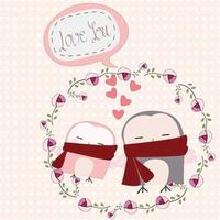 Cute owl couple in rose floral frame vector