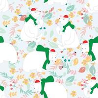 Cute polar bears in pastel color flowers seamless pattern vector
