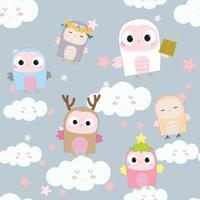 Cute owls seamless pattern vector