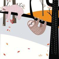 Cute sloths cartoon climbing tree vector