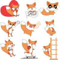 Cute sticker fox characters