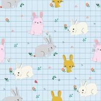 Cute rabbit in spring flower garden seamless pattern vector