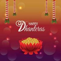 Feliz celebración de dhanteras tarjeta de felicitación con guirnalda de flores y monedas de oro vector
