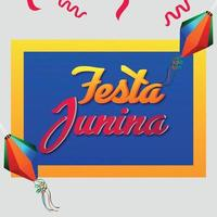 Festa junina brazil festival with colorful party flag and paper lantern vector