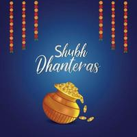 Dhanteras sale greeting card and banner with lotus flower and gold coin with kalash vector