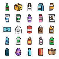 conjunto de iconos de embalaje de producto vector