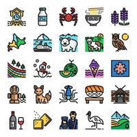 Japanese icon set vector