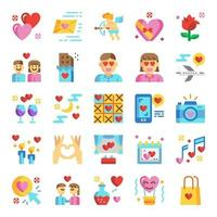 valentine's day icon set vector