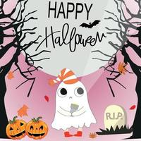 Cute sweet ghost halloween cartoon vector