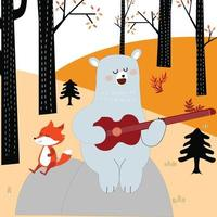 Cute fox and teddy bear playing guitar in the spring forest