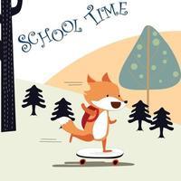Happy fox boy back to school vector