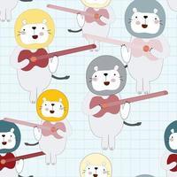 Cute lion playing music seamless pattern